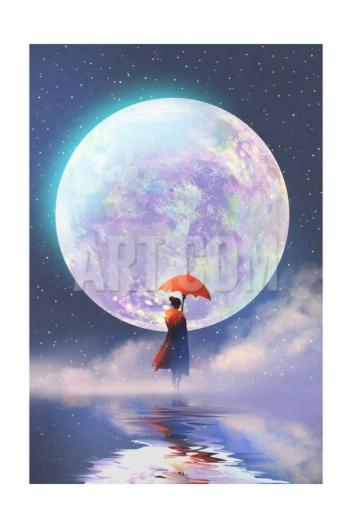 tithi-luadthong-woman-with-red-umbrella-standing-on-water-against-full-moon-background-illustration-painting